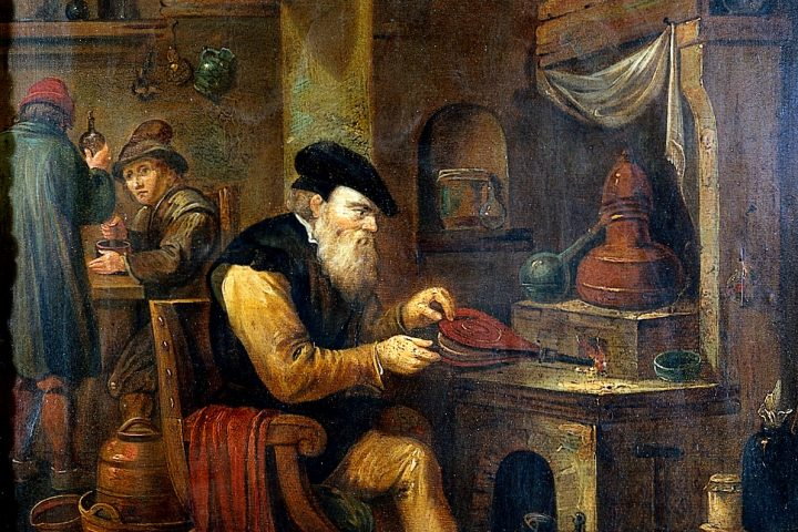 An alchemist in his laboratory. Oil painting by a follower of David Teniers the younger.